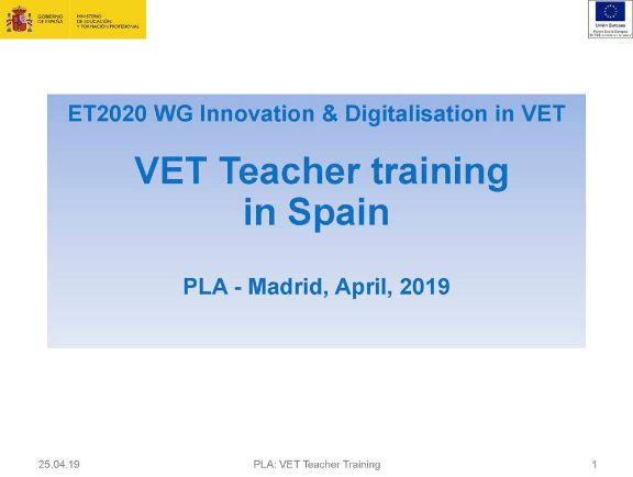 VET Teacher training in Spain