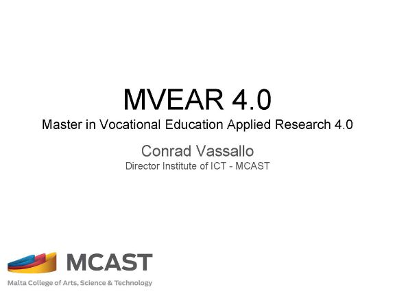 MVEAR 4.0. Master in Vocational Education Applied Research 4.0