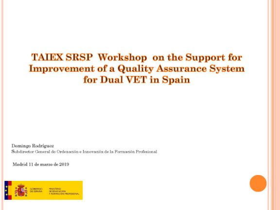 TAIEX SRSP Workshop on the Support for Improvement of a Quality Assurance System for Dual VET in Spain