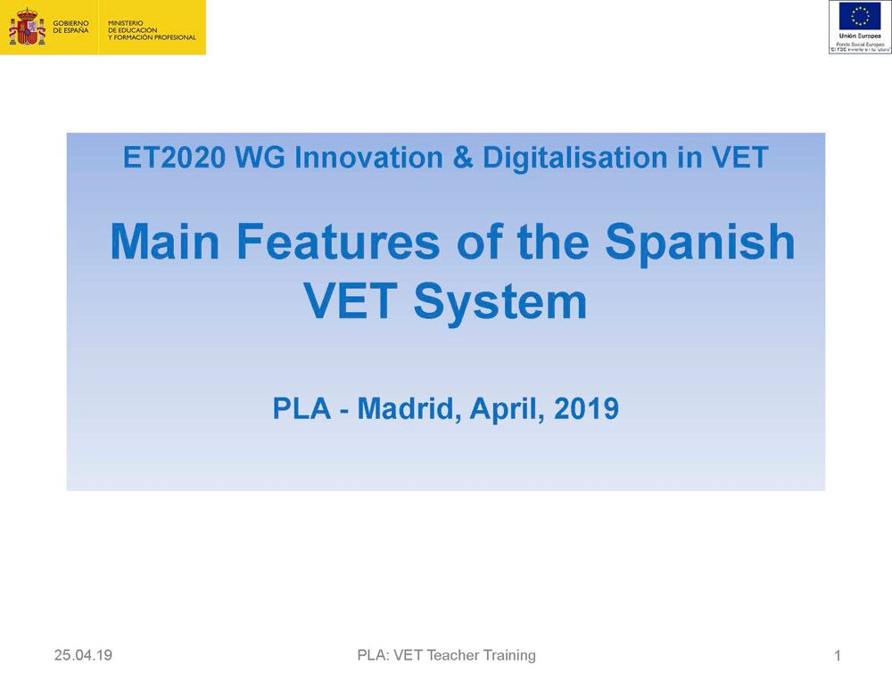 Main Features of the Spanish VET System