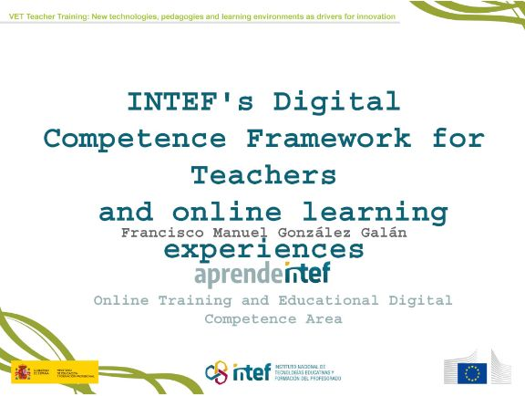INTEF's Digital Competence Framework for Teachers and online learning