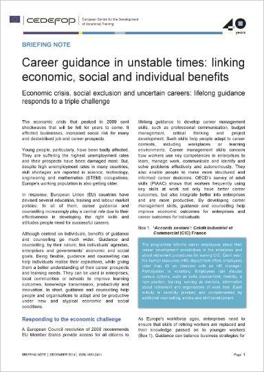 Career guidance in unstable times: linking economic, social and individual benefits
