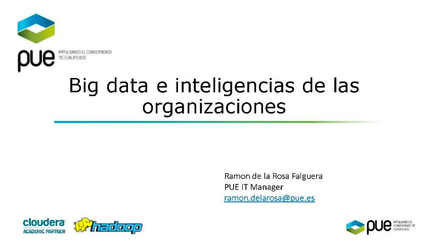 Big data e inteligencia de las organizaciones